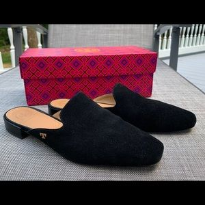 TORY BURCH Black Velvet Mule Slides Size 7 1/2